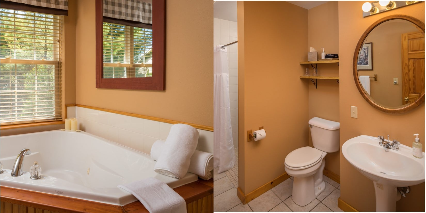 split picture with whirlpool tub on left and bathroom on right