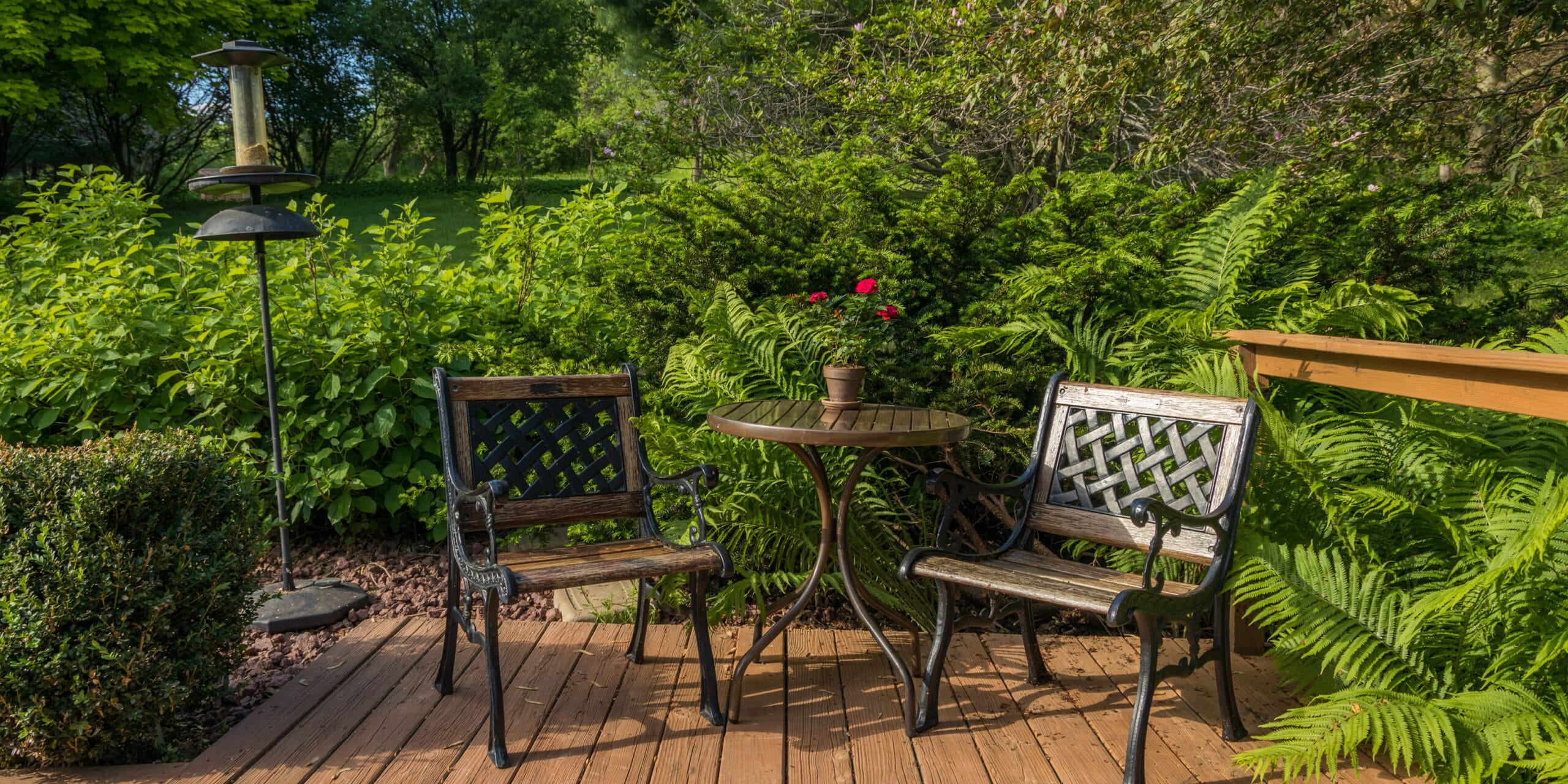 2 outdoor chairs and table in front of bushes