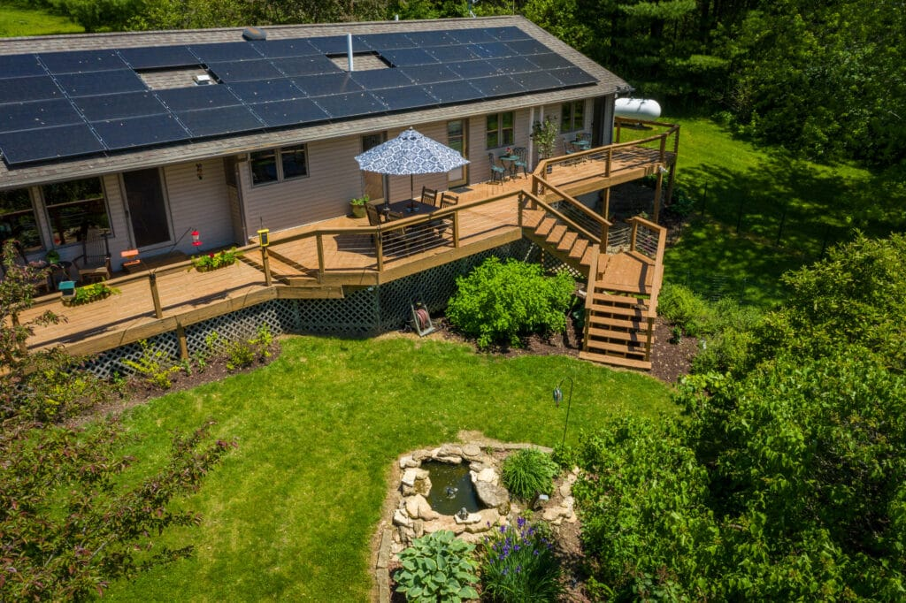 solar panels on our main house over the deck and gardens