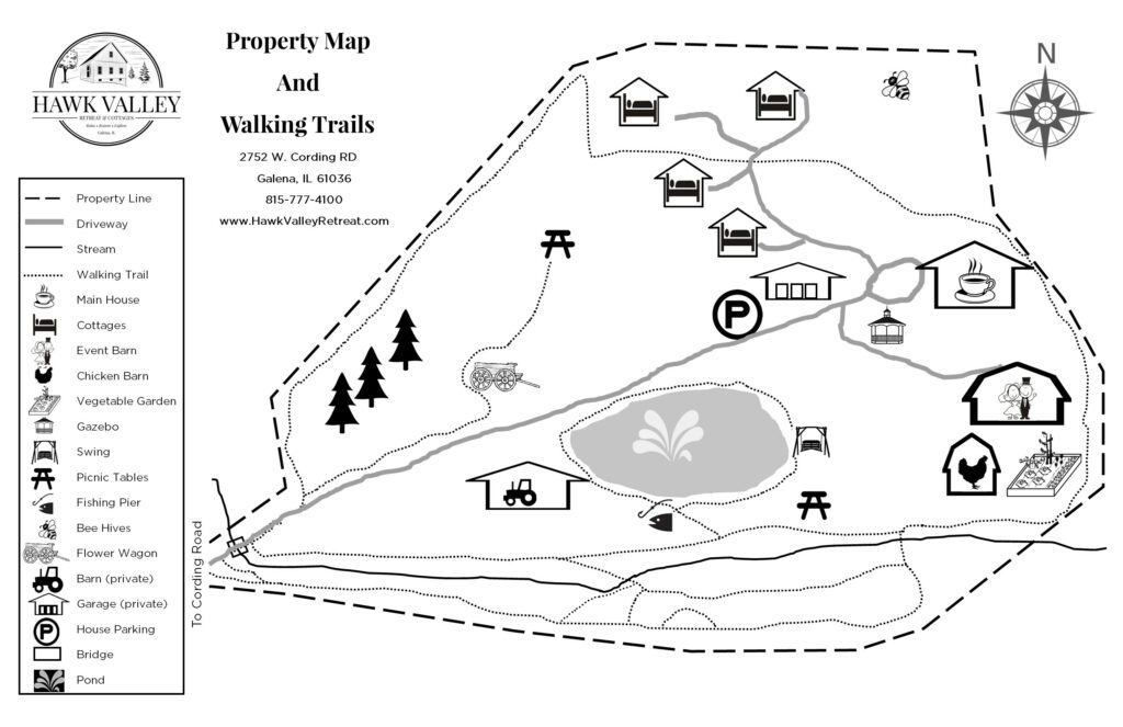 a map of Hawk Valley Retreat and cottages showing waliking trails and points of interest