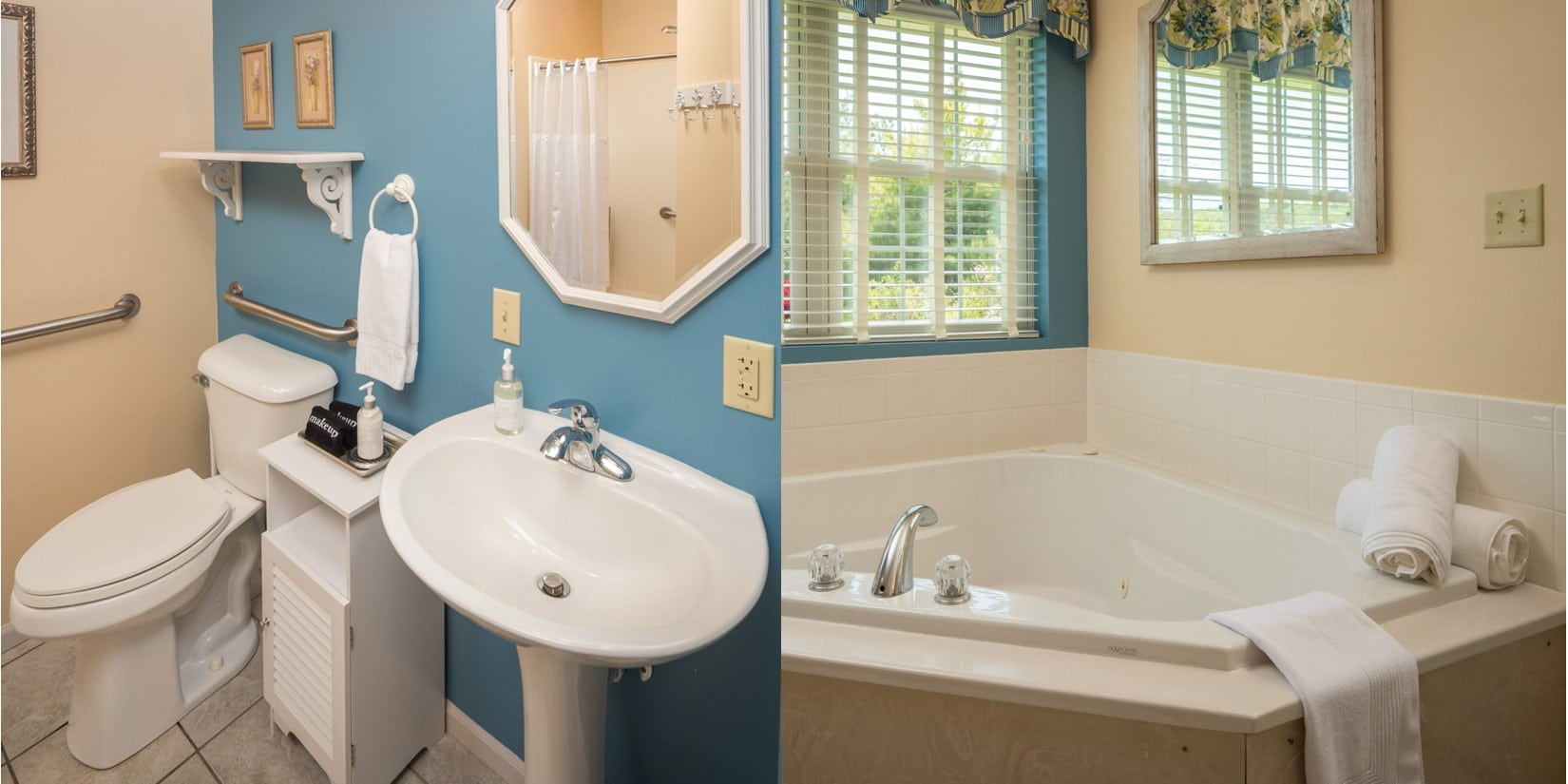 Split picture wth left showing toilet, sink and reflection of shower in mirror with blue Walls, Right picture shows whrilpool tub with window and mirror above