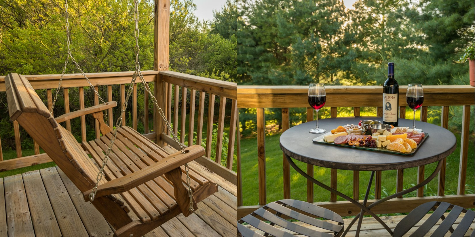 split picture showing porch spring on the left and a bistro table with wine and a charcuterie board on the right