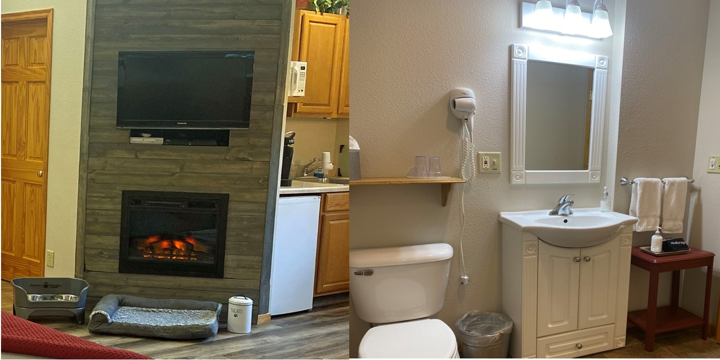 split picture showing dog amenities and white bathroom