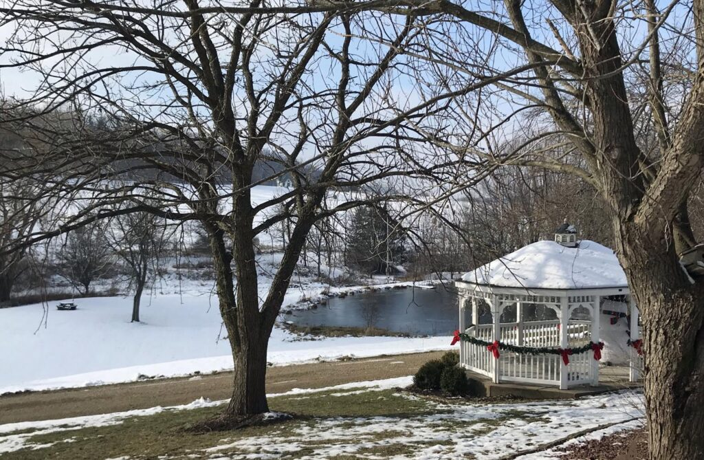 winter view of gazebo and pond